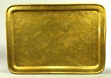 ^ Antique Islamic Hand Tooled Thick Brass Ancestral Tray Platter w. 6 Scenes