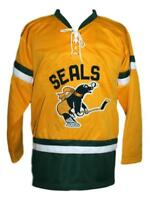 Custom Name # San Francisco Seals Retro Hockey Jersey Yellow Mickoski Any Size