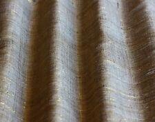 "Raw Tassah Silk / Gold Metallic Woven Stripe Fabric 49"" W, By The Yard (WT-218A)"
