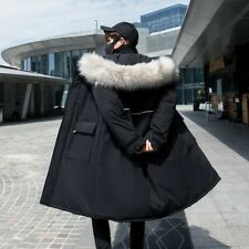Mens Thick Jacket Mid Length Cotton Padded Outwear Overcoat Quilted Coat Casual