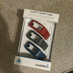 Garmin vivofit 2 Bands, Large Wrist Bands - 3pk Burgundy/Black/Navy - New In Box