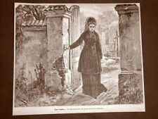 Engraving 1879 Grave Mrs. mezan in the first days of widowhood