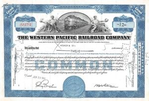The WESTERN  Pacific Railroad Compagny Certificate 12 shares  1951 (12712)