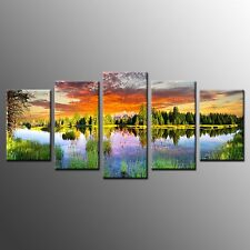 FRAMED Modern Canvas Wall Art Lake Sky Forest Giclee Photo Canvas Prints-5pcs