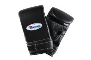 Authentic Winning Boxing Bag Mitts Open Thumb Gloves Tape  Black from JAPAN NEW