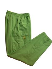 Women's Neon Lime Green scrub pants size L with elastic waist