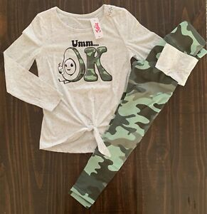 NWT Justice Girls Tie Front LS Tee & Matching Leggings Outfit / Set! Choose Size