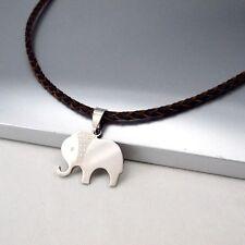 Silber Tier Elefanten Edelstahl Anhänger Leder Halskette Geflochten Damenkette