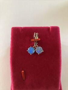 Blue Fire Opal Dangle Hoop Earrings