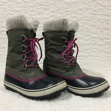Sorel Women's Winter Carnival Waterproof Boots Pewter & Pink Size 9.5 NL1495-213