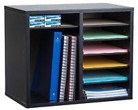 AdirOffice 12 Compartment Adjustable Black Wood Literature Organizer