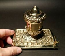 Antique Style Brass Pen Holder Inkwell Desk Stand