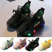 LED Light Baby Boys Girls Kid Running Mesh Sneakers Luminous Sport Trainer Shoes