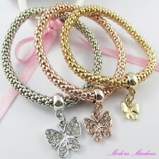 3pce Three Tone Rhinestone Butterfly Charm Stretch Popcorn Chain Bracelet Set