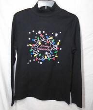 CHRISTMAS TOP * NEW Ladies Medium (8-10) * NWT - black Shirt - Cotton