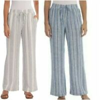 Briggs Womens Linen Blend PullOn Pants Pockets & Drawstring Pic Sz & Co 1372200