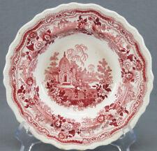 "William Adams Indian Warriors Red Transferware 7 3/4"" Deep Plate 1830s - 1840s"