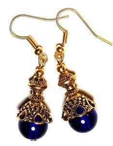 Corto Dorado Azul Pendientes Colgante Cuenta de Cristal Perforado Elegante