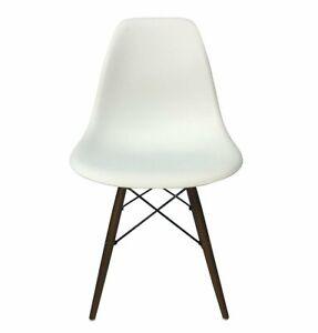 Eiffel Dining Side Chair, Wood Legs, Modern Mid-Century Classic Design, Plastic