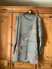 Next Grey Floral Tunic Sweat Top Size Large