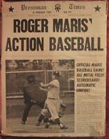 vintage Pressman ROGER MARIS ACTION BASEBALL Bagatelle Board Game 1962 yankees