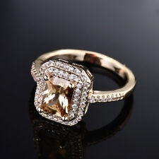 Birthstone Jewelry Women's Radiant Crystal 18K Gold Filled Party Ring Size 7-10