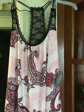 Woman Nightie Size (L) Large 12-14 - Paisley Chemise - Pink, Red, White, NWT