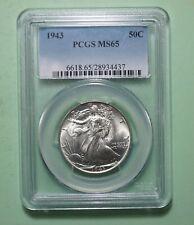 1943 WALKING LIBERTY Half Dollar PCGS MS65 HIGH GRADE US 90% SILVER COIN