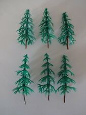 6 x Plastic Green Fir Pine Trees Cake Cupcake Toppers Decorations Forest Woods