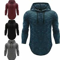 Men's Basic Long Sleeve Hoodie Hooded Tops Shirts Slim Muscle Casual Fit T-shirt
