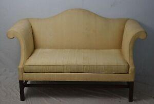 Kittinger Williamsburg Mahogany Chippendale Settee Sofa Gold Bird Fabric WA 1055