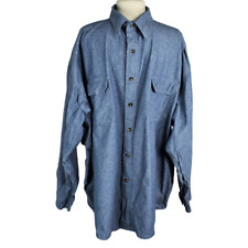 Key Mens 4XL Reg Chambray Work Shirt Regular Heavy Cotton Button Front LS Blue
