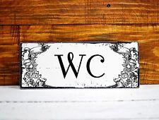 WC Restroom Toilet Sign Plaque Shabby Chic Distressed vintage Wooden Door Gift 1