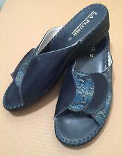 La Plume Leather Paola Navy Adjustable Strap Slide Sandal Shoe Women's Euro 42