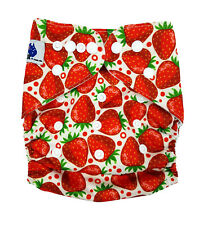 MODERN CLOTH NAPPIES MCN DIAPERS POTTY REUSABLE ADJUSTABLE STRAWBERRIES SHELL