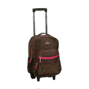 Rolling Backpack 17 in. H x 13 in. L x 10 in. W Zippered Pockets Polyester Brown