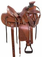 Premium Leather Endurance Western Roping Hand Tooled Horse Riding Saddle Tack