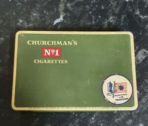 VINTAGE CHURCHMAN'S No.1 CIGARETTES - HUNTING AIR TRANSPORT - TIN - RARE