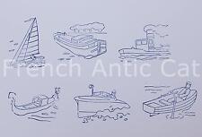 6 ancien tampon bois scolaire Bateau voilier gondole canot péniche 6*4,5 AA017