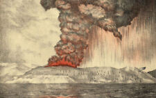 Framed Print - 1883 Drawing of the Krakatoa Volcano Eruption (Picture Replica)
