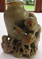 Vintage Hand Carved Soapstone Chinese - Lions, Bird Etched Vase Vessel 4 1/2""