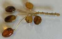 Vintage Hand Wired Gold Tone Amber Glass Art Flower Pin Brooch