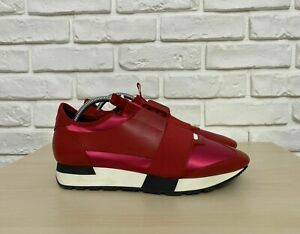 NWOT Authentic Balenciaga Race Runner Sneakers Leather Red Size 41 Unisex US 8