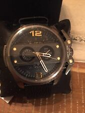 NWT Diesel Men's Ironside Chronograph Black Leather Watch DZ4386 MSRP $260
