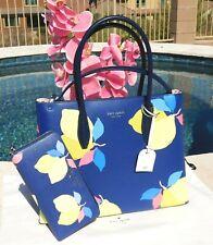 🌸NWT Kate Spade Eva Lemon Zest Medium Top Zip Satchel Leather Bag Blue NEW $399