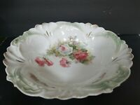 Vintage Hand Painted Rose Design Bowl Swirled Gold Green Ruffled Edge, Gorgeous!