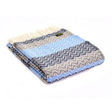 Blue Wool Throw Blanket Tweedmill Ripple Design Slate Blue