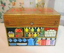 vtg Hallmark Tin Recipe File Box~coffee pot~canning spice jars~veggies~fruit