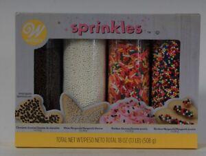 Wilton 18 Oz Sprinkles Chocolate & Rainbow Jimmies White & Rainbow Nonpareils
