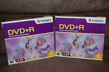 (2) 5 Pack VERBATIM  8X DVD+R's! 2 x 5-Pak! Verbatim 94959 In Jewel Cases! NIB